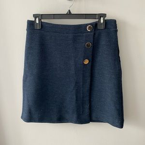 Navy Blue Skirt with Gold Buttons